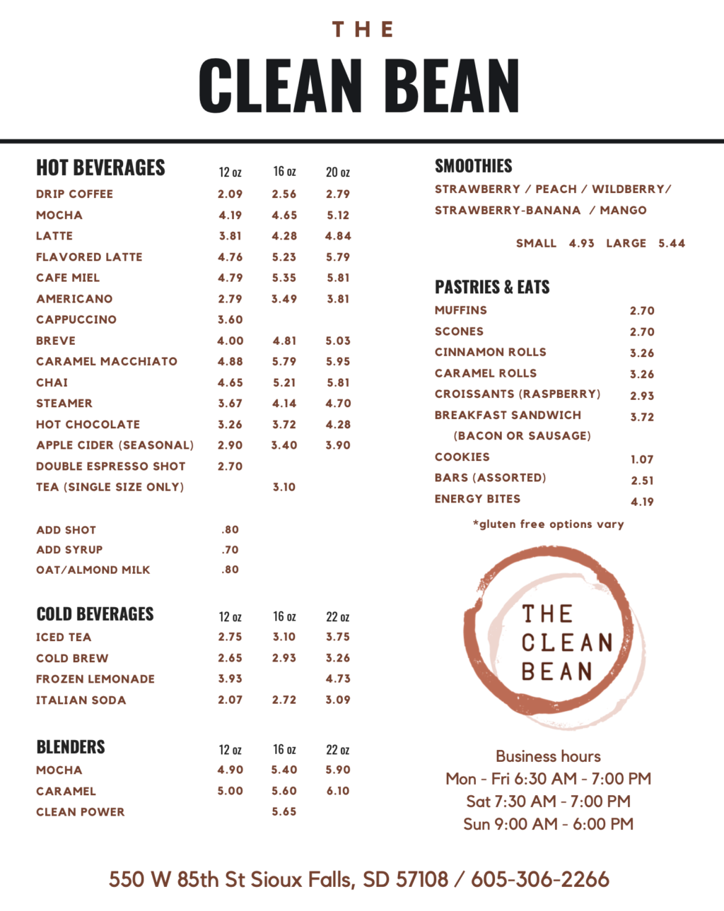 New Clean Bean Menu